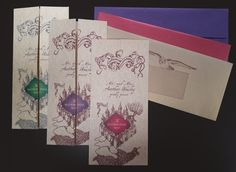 Unique Custom Wedding or Party Invitations Based on Harry Potter Marauders Map Printed on Parchment Paper with Owl Post Envelopes designed by Noteworthy Ink