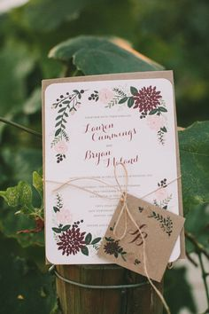 Spring floral wedding invitation with twine and tag, DIY calligraphy green and purple invitation Purple Invitations, Country Wedding Invitations, Rustic Invitations, Wedding Stationary, Wedding Themes, Invitation Design, Wedding Decorations, Wedding Ideas, Wedding Inspiration