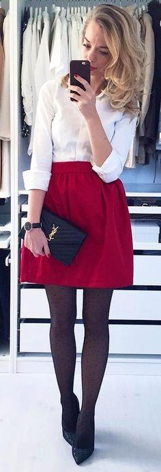 #winter #fashion /  White Shirt / Red Skirt / Black Tights / Black Leather Clutch / Black Pumps