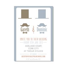 Gay Wedding Invitation with TopHat/Tache Theme - DoodleMoose Designs