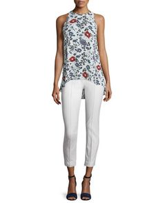 Kalstinn+Marigold+Georgette+Top+&+Alettah+Approach+2+Pants+by+Theory+at+Neiman+Marcus.