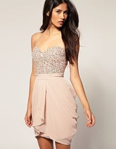 Sparkly Dazzled Neutral Nude Blush Pink Fancy Prom Dress for a softer look