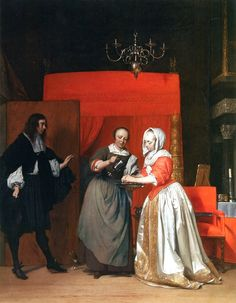 Homme visitant une Femme se lavant les mains - Gabriel Metsu - Vermeer and the Masters of Genre Painting - Wikimedia Commons Baroque Painting, Baroque Art, Gabriel Metsu, Image Master, Johannes Vermeer, Dutch Golden Age, Dutch Painters, Historical Art, Dutch Artists