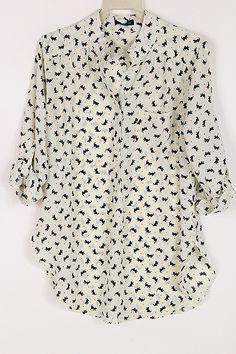 Kitten Shirt in Ivory on Emma Stine Limited