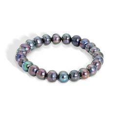 Genuine Black Fresh Water Pearl Bracelet - a sterling silver bracelet