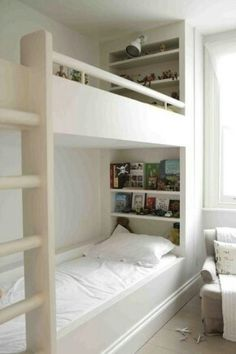 Bunk bed shelves on headboard
