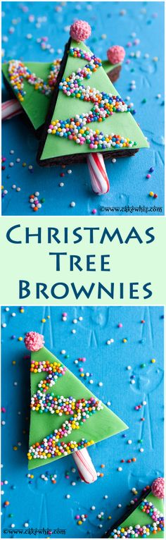 CHRISTMAS TREE BROWNIES... cute and sprinkly treats for the holiday season plus I shared 6 of my absolute favorite brownie recipes! From cakewhiz.com