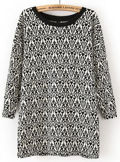 Black White Long Sleeve Tribal Totem Print T-Shirt US$21.15