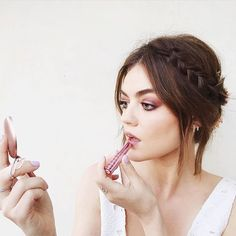 """mark. girl on Instagram: """"mark. Brand Ambassador @lucyhale looks stunning for the @nylonmag Young Hollywood party tonight! Lucy's  is the mark. All Butter Now Lip Treat in Mauvelous and her cranberry smokey  is courtesy the mark. On The Dot Neutral Eye Color Compact (both available on meetmark.com!) #Regram @kdeenihan"""""""