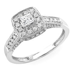 0.85 Carat (ctw) 14k White Gold Princess Diamond Ladies Halo Style Engagement Bridal Ring * Remarkable product available now. : Engagement Rings