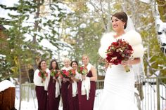 Winter wedding inspiration, cream shawls, snow, maroon flowers, Chanel faux fur bolero, Lake Tahoe