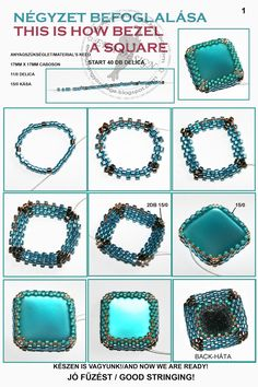 Ewa beaded World - how to bezel a square cabuchon ~ Seed Bead Tutorials patrón de sortija cuadrada