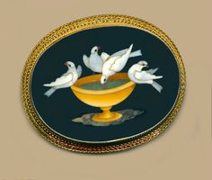 Brooch--Large Mid-19th C. Pietra Dura Scene of Doves at Fountain in 14 Kt Gold