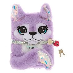 Star the Husky Plush Lock Diary - Purple, Cute Journals, Cute Notebooks, School Accessories, Girls Accessories, Cute Diary, Unicorn Fashion, Tween Girl Gifts, Kids Makeup, Cute Notes