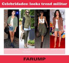 A tendência militar vem com tudo nas estações mais frias do ano. Veja os looks das celebridades que já apostaram nessa moda!