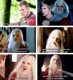 Lol I just love how Merlin gets away with so much when he is dressed as Emrys.Arthur would be so furious when he found out haha Merlin Quotes, Merlin Memes, Merlin Funny, Sherlock Quotes, Bradley James, Old Merlin, Merlin Cast, Movies Showing, Movies And Tv Shows