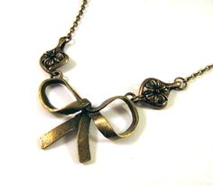 Bronzed Bow Necklace