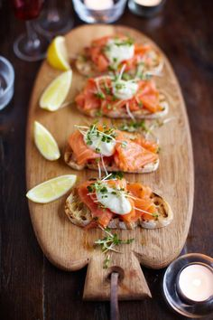 smoked salmon, horseradish & cress toasts:  ½ teaspoon creamed horseradish ½ small tub crème fraîche 1 small pinch sea salt 1 small pinch freshly ground black pepper 1 squeeze lemon juice 1 loaf ciabatta extra virgin olive oil 300 g smoked salmon, from sustainable sources, ask your fishmonger ½ punnet cress extra virgin olive oil 1 squeeze lemon juice
