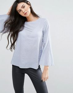 Vero Moda Tall Funnel Sleeve Collarless Shirt in blue at Asos