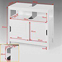 SoBuy® Waschbeckenunterschrank, Badmöbel, Badschrank, Waschtisch,Unterschrank, FRG128-W