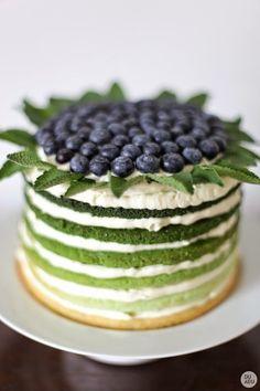 Ombré verde, decorada con arándanos y hojas de hierba buen