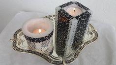 Συνθεση με Χειροποιητα κερια αρωματισμενα με βανιλια ......το ενα ειναι γεματο κερι ....με βαση για ρεσω και το αλλο κουφωτο!!!