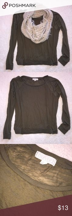 🎀Olive Long Sleeve Top🎀 Worn maybe once. Olive Green sheer top. Forever 21 Tops Tees - Long Sleeve