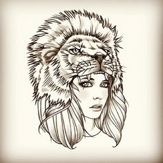Awhile ago I posted separate sketches of this lion headdress and girl. Well, I'm finally posting the completed illustration. This is a t-shi...