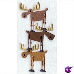 WILDLIFE MOOSE STACK - 2 EMBROIDERED HAND TOWELS by Susan
