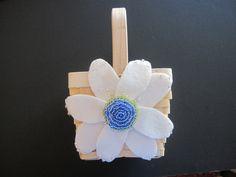 Flower Girl Basket Wedding Ivory Blue Green by ArtisanFeltStudio on Etsy
