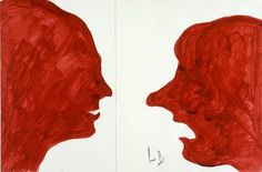 Louise Bourgeois (1911-2010)  The Conversation, 2007  Red ink on paper  24.1 x 34.9 cm