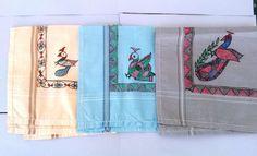 Pure Cotton Handkerchiefs With Handmade Colors Indian Cultures Design Set of 3. #VisvabhavanahMart #DesignerArtist