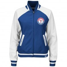 Majestic Texas Rangers Womens Athletic Greatness Full-Zip Track Jacket (Royal)