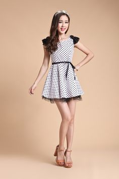 Newly Sweet Dot Printed Lace Splicing Dress Black&White With Belt