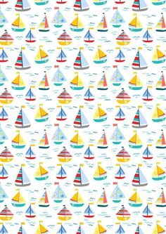 Colourful sailing boats adorn this pretty printable scrapbook paper, part of our seaside set. Printable Scrapbook Paper, Baby Scrapbook, Printable Paper, Scrapbook Background, Paper Background, Vintage Flowers Wallpaper, Scrapbook Patterns, Gift Wrapper, Paper Tags