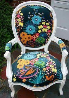 Otomi pattern on a lovely little louis chair... LOVE this unexpected combination. | Seating / Chairs | Pinterest | Yellow table, Patterns and Love the