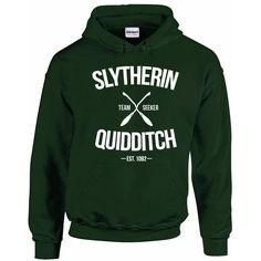 Slytherin Quidditch Team Seeker Adult Unisex Hoodie (£18) ❤ liked on Polyvore featuring tops, hoodies, green hoodies, green hoodie, unisex hoodies, green top and hooded sweatshirt