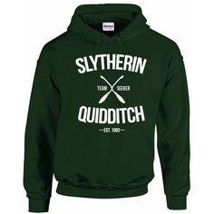 Slytherin Quidditch Team Seeker Adult Unisex Hoodie ($26) ❤ liked on Polyvore featuring tops, hoodies, hooded sweatshirt, green top, sweatshirt hoodies, green hoodies and green hooded sweatshirt