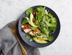 This is exactly what you want to eat while youre detoxing. Its mostly greens with a bright, tangy dressing and super-filling avocado and salmon (which also happen to be packed with good-for-you fats).