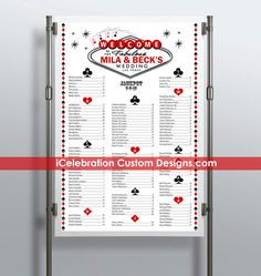 Fabulous Las Vegas Wedding Seating Chart  FREE by iCelebration
