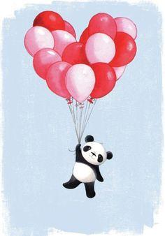 Mikki Butterley Panda and balloons Panda Wallpapers, Cute Cartoon Wallpapers, Cute Drawings, Animal Drawings, Cute Panda Drawing, Cute Panda Wallpaper, Panda Wallpaper Iphone, Panda Nursery, Panda Painting