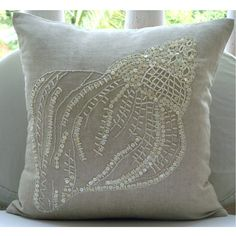 Sea Shell - Cotton Linen Pillow Cover with Jute & Mother Of Pearl Embroidery