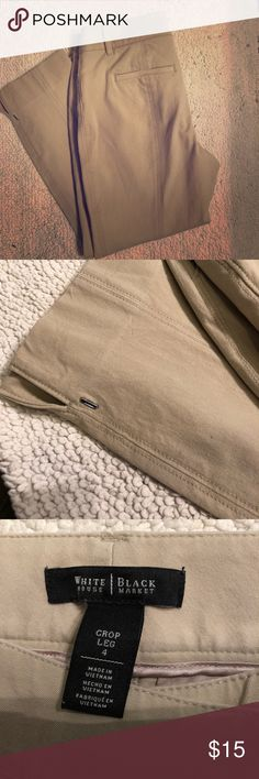 Khaki Pants WHMB Khaki Pants - no stains.  Only wore a couple of times - I have too much junk in the trunk for these pants.  They are 50% cotton, 40% rayon, 10% spandex.  They do have some stretch in them. White House Black Market Pants Ankle & Cropped