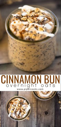 Bun Overnight Oats PiperCooks All of the delicious flavor of a cinnamon bun in an easy to make overnight breakfast treat Sweetened with brown sugar can sub coconut suga. Healthy Breakfast Recipes, Brunch Recipes, Breakfast Fruit, Breakfast Ideas, Healthy Breakfasts, Oatmeal Breakfast Recipes, Healthy Oatmeal Recipes, Low Calorie Breakfast, Mexican Breakfast