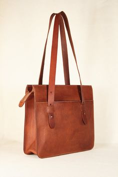 CLEMATIS - Leather tote bag / Leather shoulder bag / Messenger bag / Leather purse / Brown leather cowhide on Etsy, $121.62