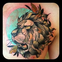 Neo-Traditional Lion Tattoo by Kari Grat