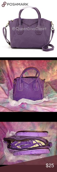 Faux suede dark deep grape purple satchel bag tote This one of a kind mini designer Antigona style handbag/ purse is on trend in a rich deep purple color. Features optional shoulder strap, inner pockets, zip closure. Brand new. Comes with dust bag and is secured in plastic. 🚫Firm price/ no offers🚫 Bags Satchels