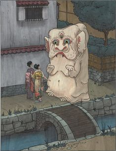 The nurikabe is a spirit from Japanese folklore. It manifests as a wall that impedes or misdirects walking travelers at night.