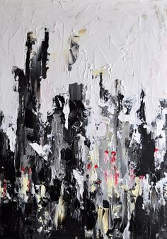 Original textured abstract painting - Impasto Cityscape, black and white  15x22 Inch