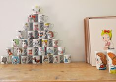 Hand drawn mug painted tea cup coffee mug valentine couple sweet hearts - jess quinn